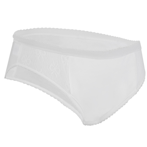 Ladies Lace High Leg Padded Brief - White