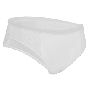 Ladies Inco-Elite Lace High Leg Padded Brief - White