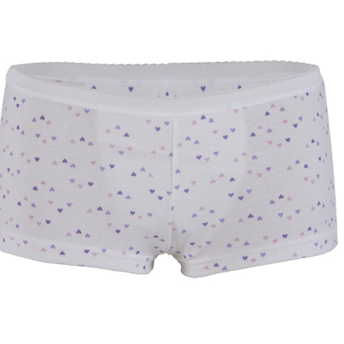 Ladies Inco-Elite Printed Shortie Brief - White with Purple Hearts (4015WP)