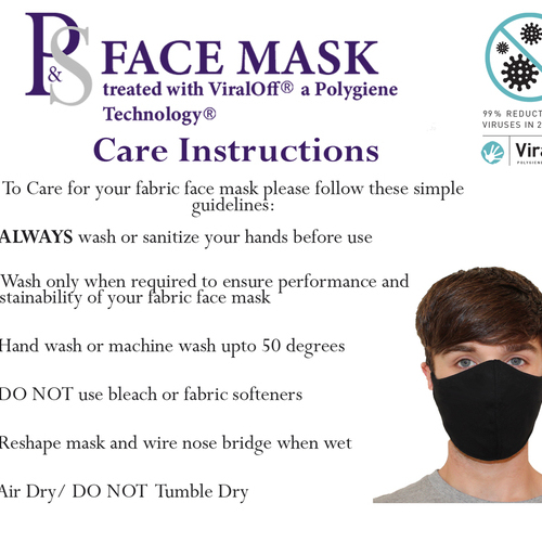 P&S Face Mask with ViralOff Technology - 10 Pack - Please choose Size and Colour